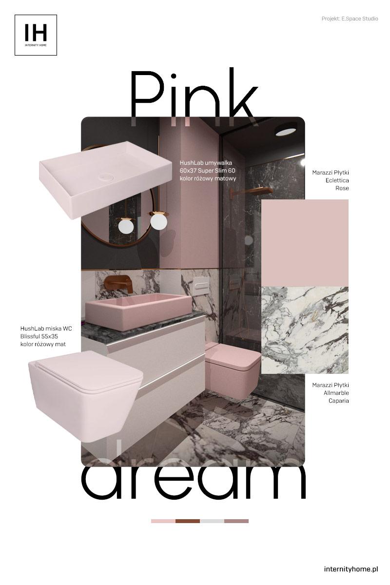 różowo antracytowa łazienka