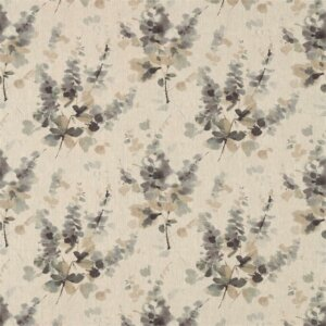 Sanderson Waterperry Fabrics Tkanina Delphiniums Charcoal
