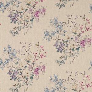 Sanderson Waterperry Fabrics Tkanina Magnolia & Blossom Amethyst/Silver