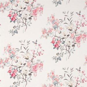 Sanderson Waterperry Fabrics Tkanina Magnolia & Blossom Coral/Silver