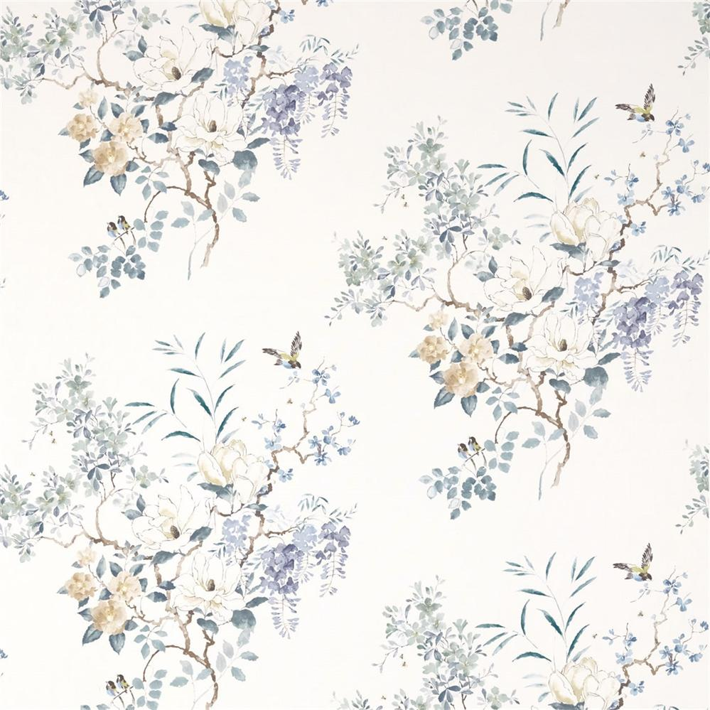 Sanderson Waterperry Fabrics Tkanina Magnolia & Blossom Mineral/Teal