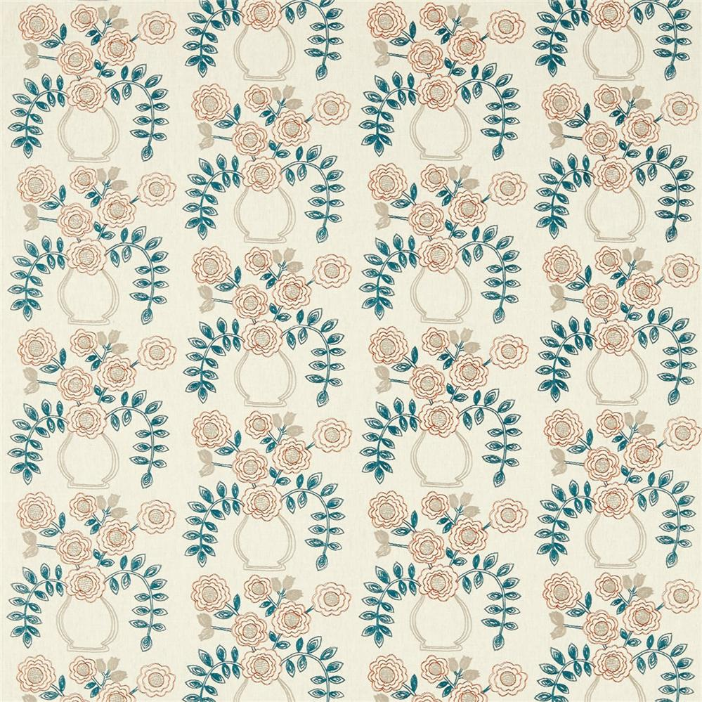 Sanderson Maida Fabrics Tkanina Flower Pot Brick