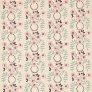 Sanderson Maida Fabrics Tkanina Flower Pot Coral/Celadon