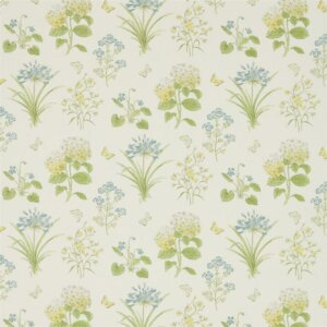 Sanderson Woodland Walk Tkanina Harebells & Violets Lemon/Teal