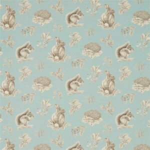Sanderson Woodland Walk Tkanina Squirrel & Hedgehog Sky Blue/Pebble