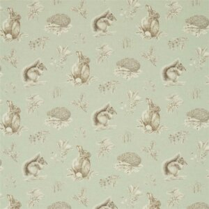 Sanderson Woodland Walk Tkanina Squirrel & Hedgehog Seaspray/Charcoal