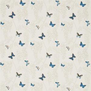 Sanderson Woodland Walk Tkanina Wisteria & Butterfly Cobalt/Chalk