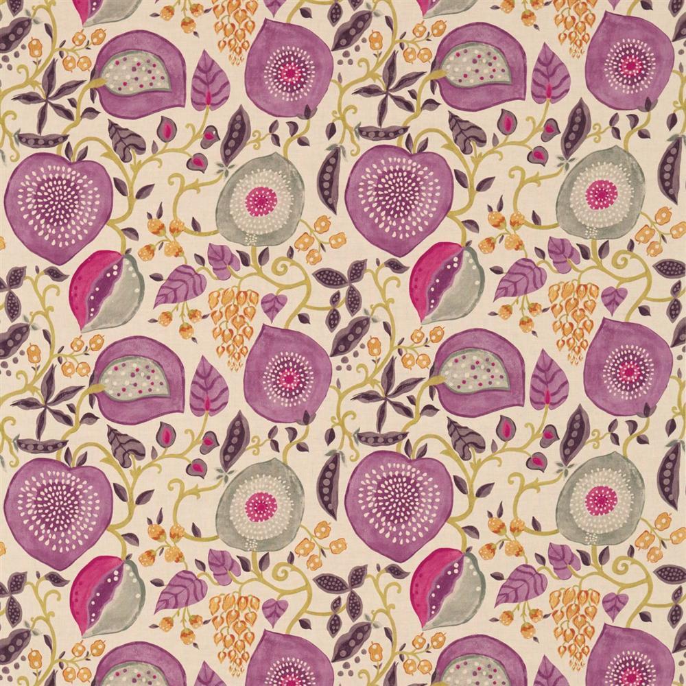 Sanderson Sojourn Prints & Embroideries Tkanina Peas&Pods Berry/Linen