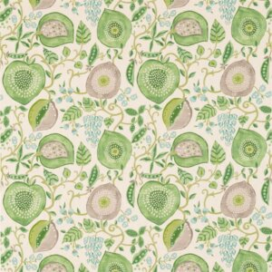 Sanderson Sojourn Prints & Embroideries Tkanina Peas&Pods Leaf Green/Ivory