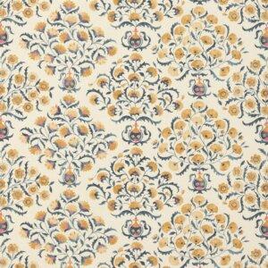 Sanderson Sojourn Prints & Embroideries Tkanina Ottoman Flowers Indigo/Ochre