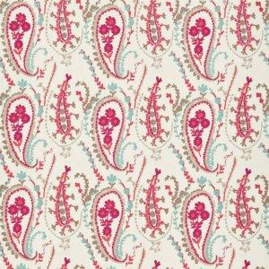 Sanderson Sojourn Prints & Embroideries Tkanina Jamila Coral/Aqua