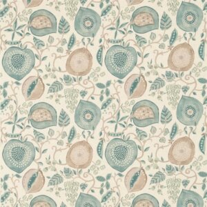 Sanderson Sojourn Prints & Embroideries Tkanina Peas&Pods Aqua/Natural