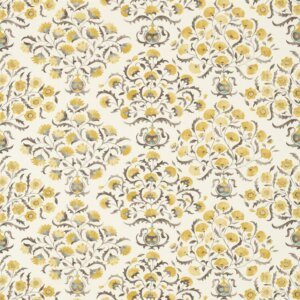 Sanderson Sojourn Prints & Embroideries Tkanina Ottoman Flowers Charcoal/Linden