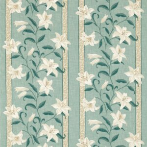 Sanderson Sojourn Prints & Embroideries Tkanina Lilium Aqua/Natural