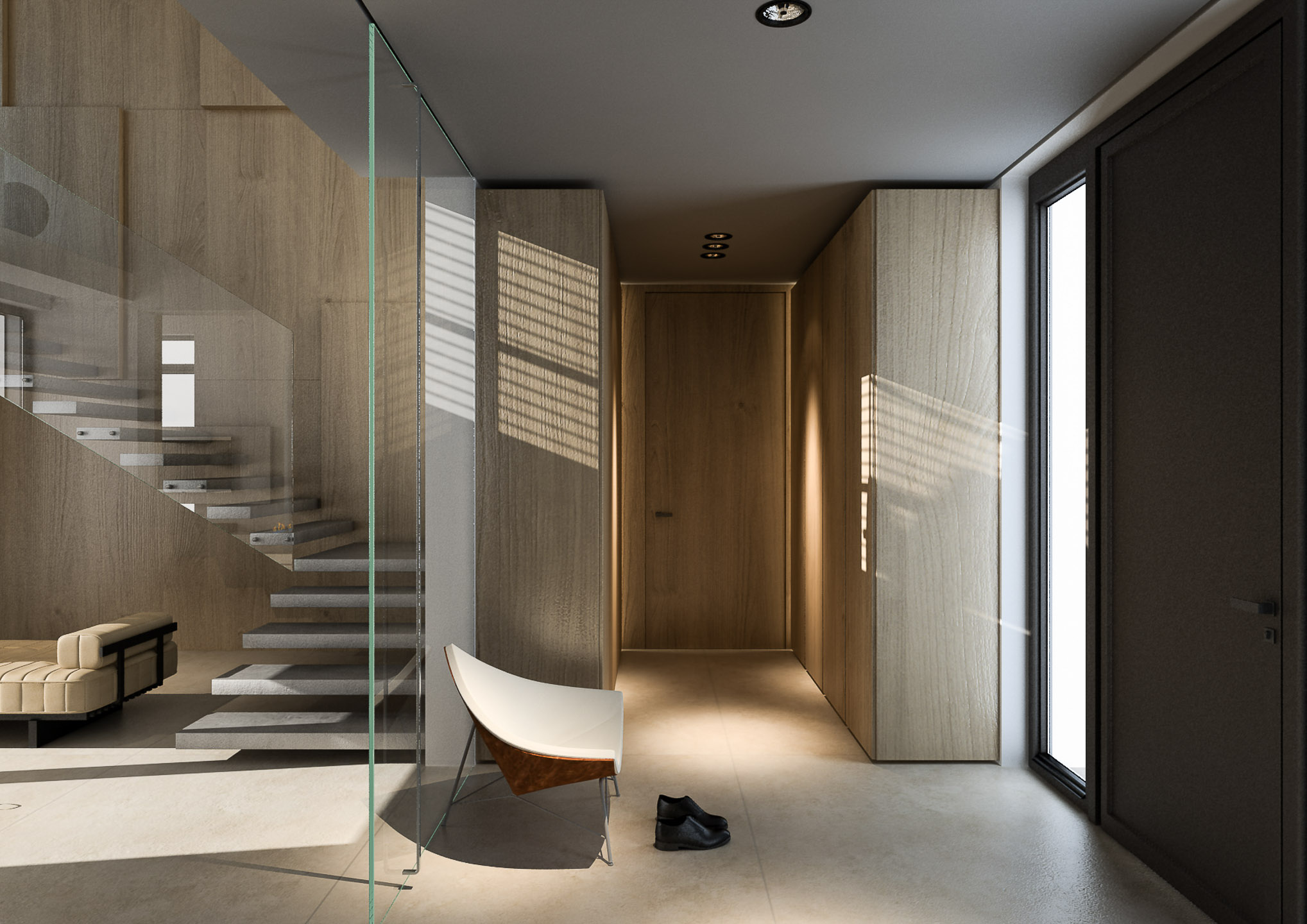 Przeszklenia we wnętrzu jako sposób na minimalistyczne rozgraniczenie pomieszczeń | proj. Pjanka Studio