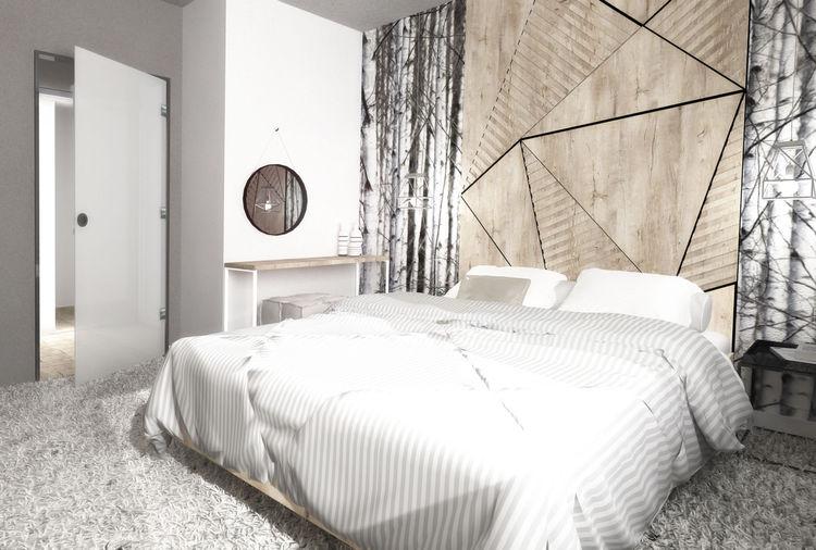 Drewniana ściana nad łóżkiem | proj.: Formea Studio