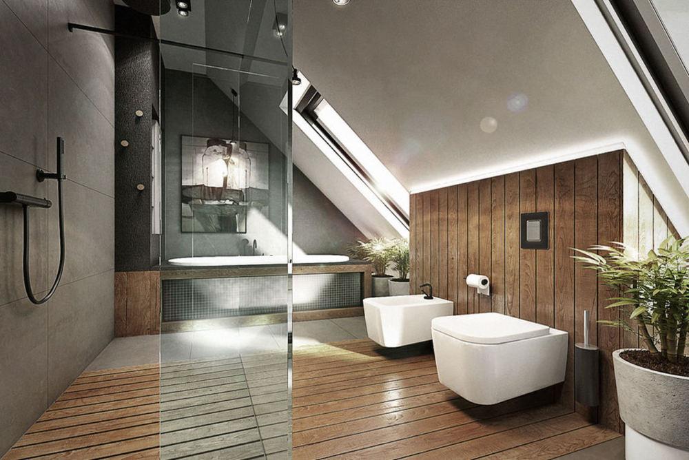Drewno i beton w łazience / proj. razoo-architekci