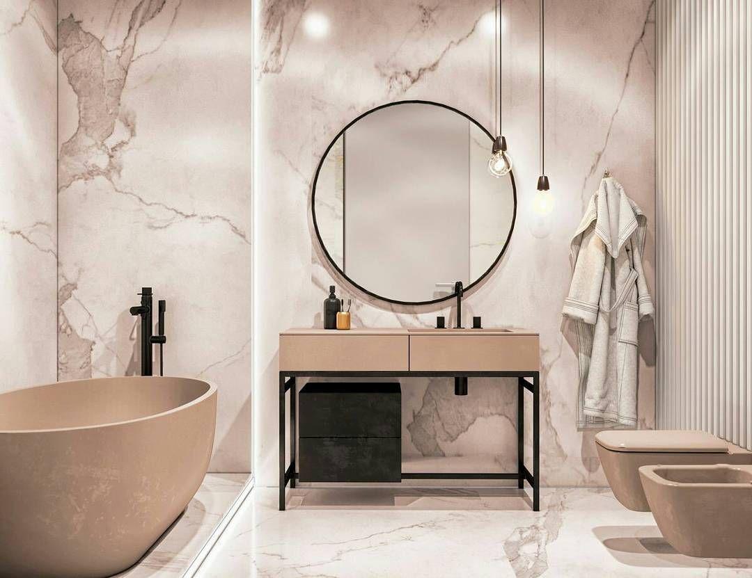 Łazienka w beżach i marmurze