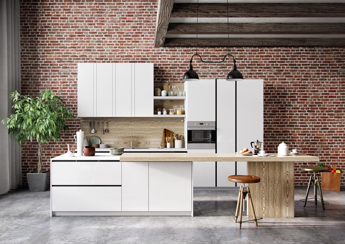 kitchen-with-red-bricks-white-cabinets-wood-backsplash