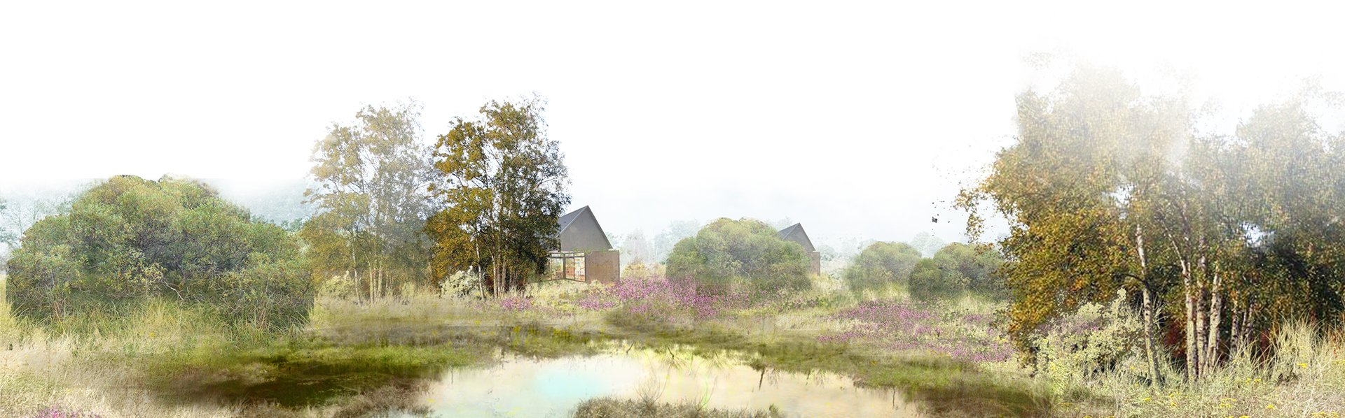 Wizualizacja wsi Całowanie, a w tle mikrodomki