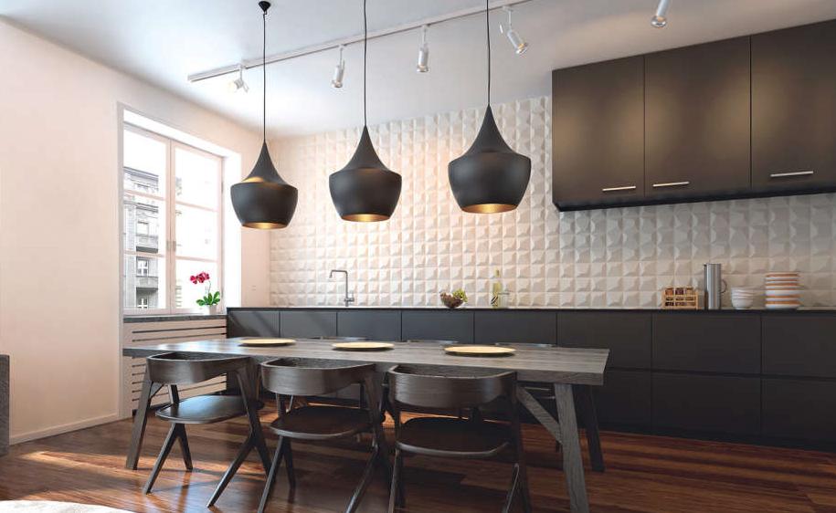Płytki 3D na ścianie nad blatem w kuchni od WOW | produkt dostępny w salonach Internity Home i Prodesigne