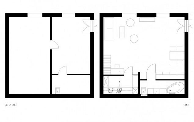 Przebudowa 42-metrowego mieszkania w Krakowie