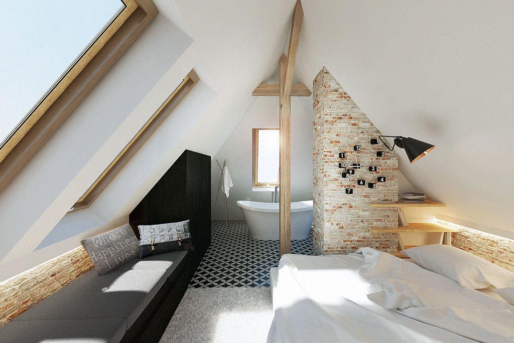 Wolnostojąca wanna w sypialni na poddaszu | proj. razzo - architekci