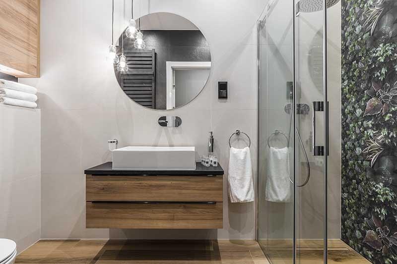 Projekt łazienki z motywem tropikalnym | proj. Studio Projekt