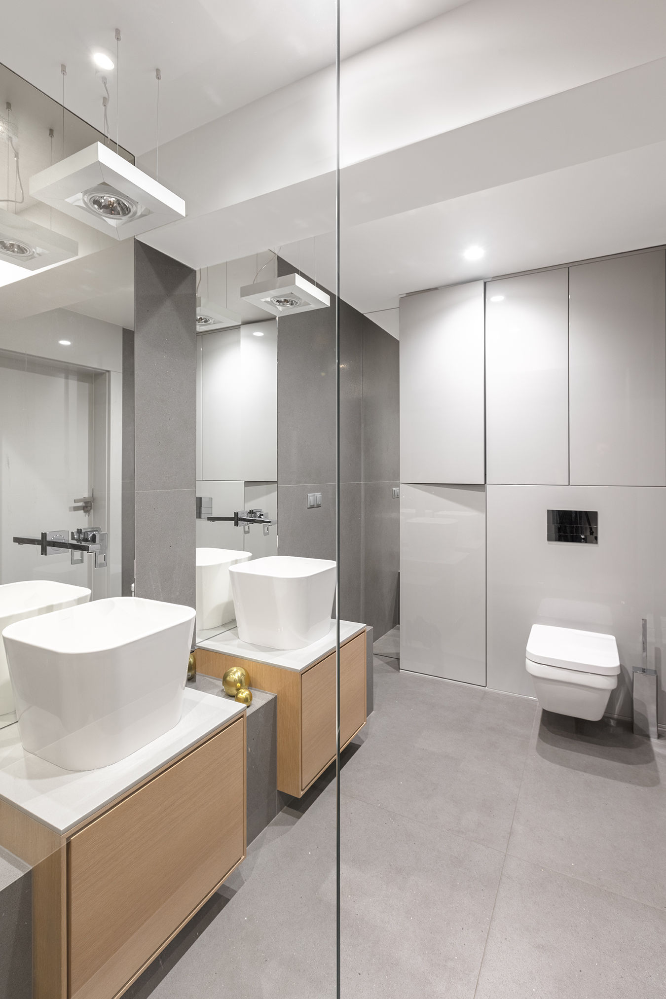 Szara łazienka Z Betonem W Roli Głównej